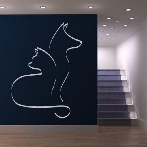 Kutya-macska barátság, faltetoválás - Bíborka falmatrica web